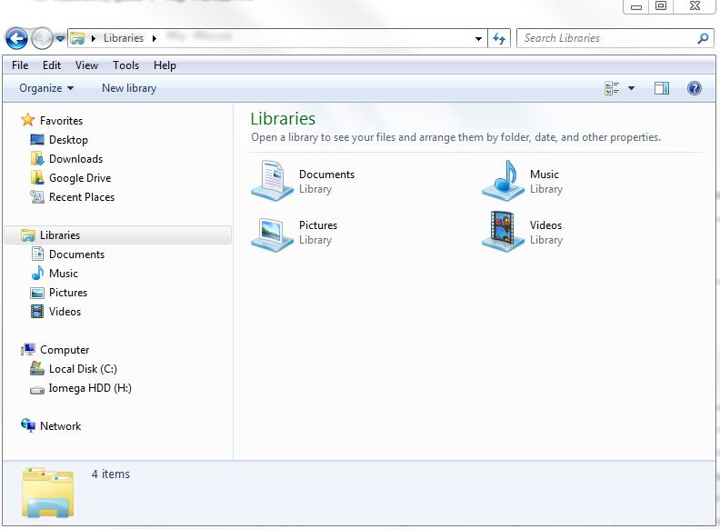 windows 7 libraries a