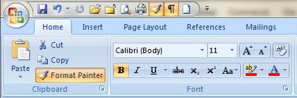 word 2007 format buttons